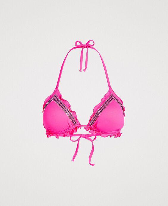 Haut de bikini triangle avec strass et volants
