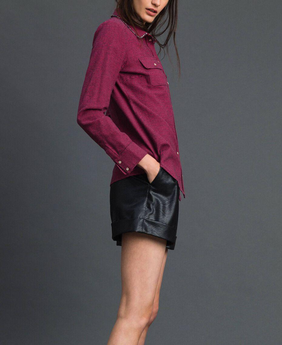 """Camicia in micro pied-de-poule Pied De Poule Rosa """"Pink Gloss"""" / Nero Donna 192MT2124-02"""
