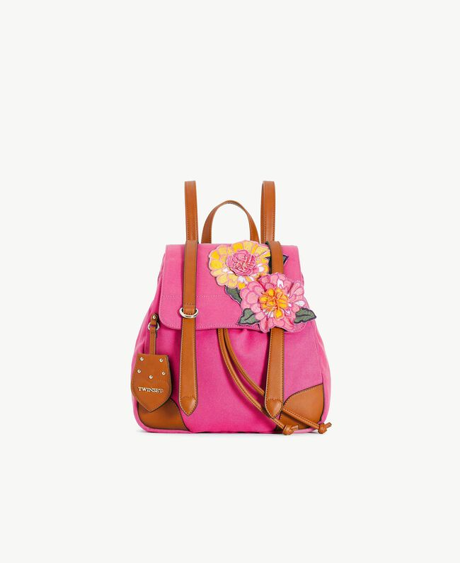 TWINSET Canvas backpack Two-tone Provocateur Pink / Leather Woman OS8TAG-01