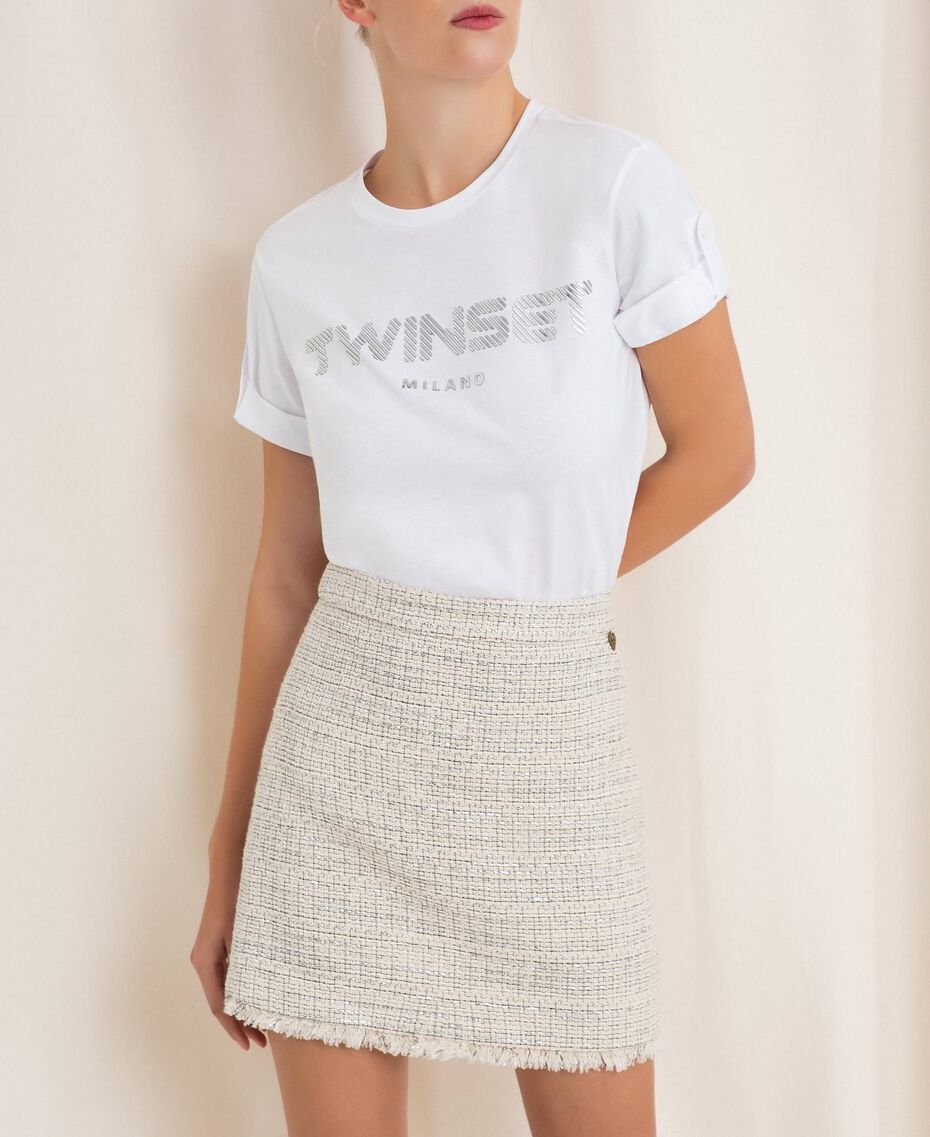 Bouclé fabric short skirt Multicolour Ivory / Silver Grey Woman 201TP2245-02