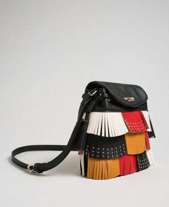 Faux leather bucket bag with fringes and studs