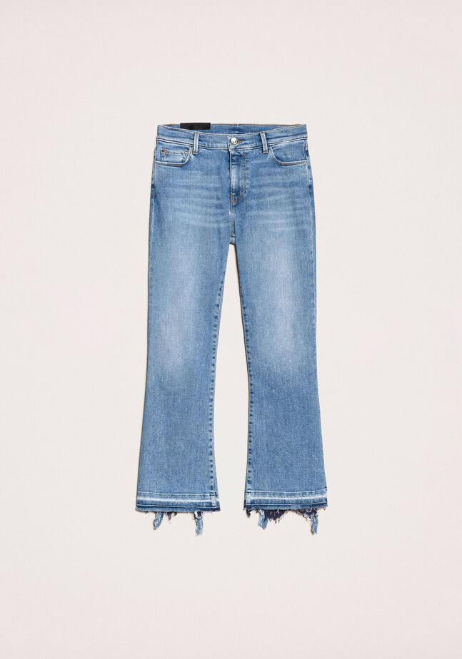 Cropped-Jeans im Flare-Fit mit Spitze