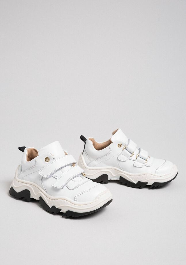 Strap leather trainers
