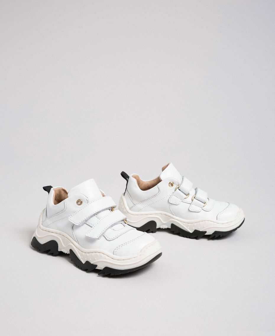 Strap leather trainers White Child 192GCB020-01