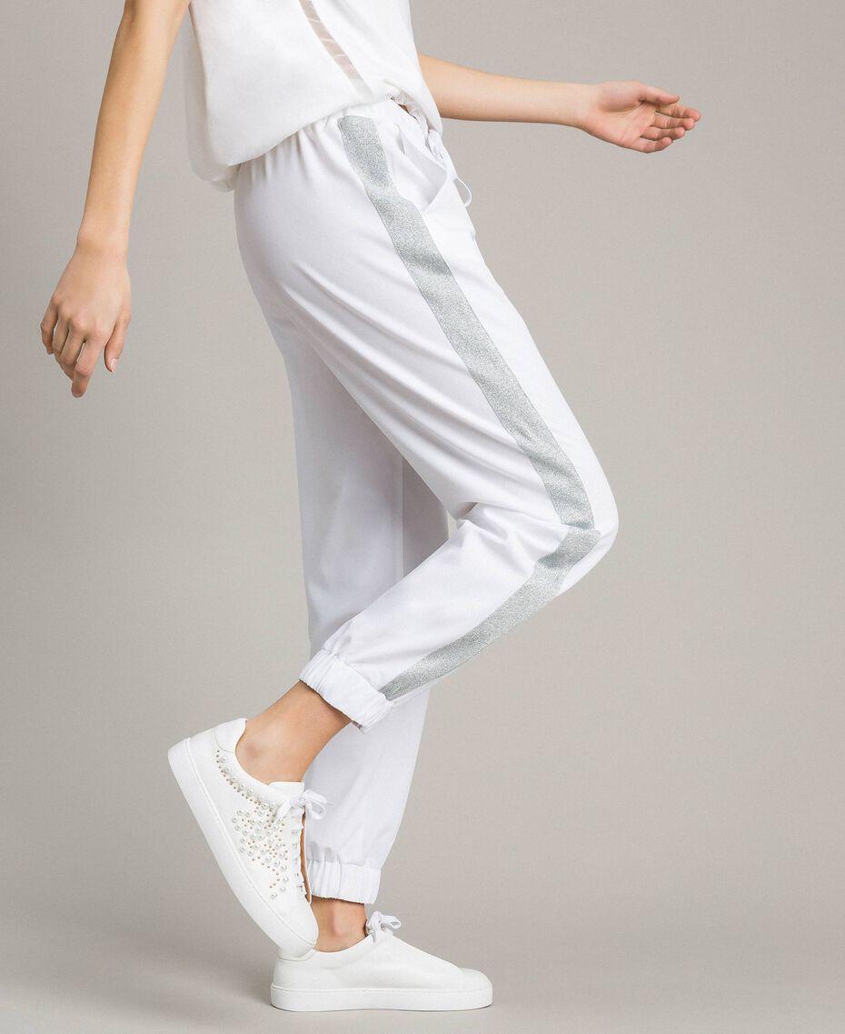 Pantalones de jogging con paneles de lúrex Blanco Mujer 191LL25KK-01