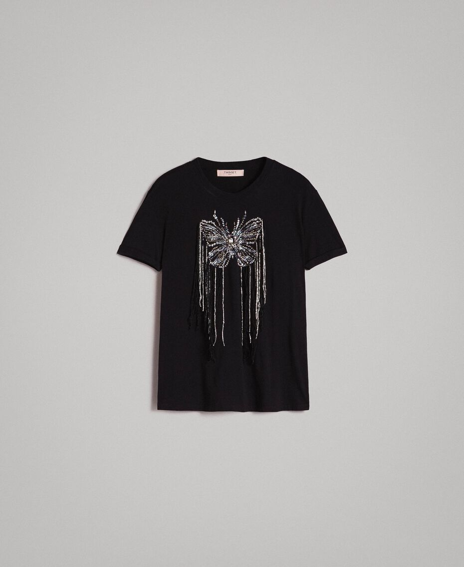 Butterfly embroidery and fringe T-shirt Black Woman 191TP2600-0S