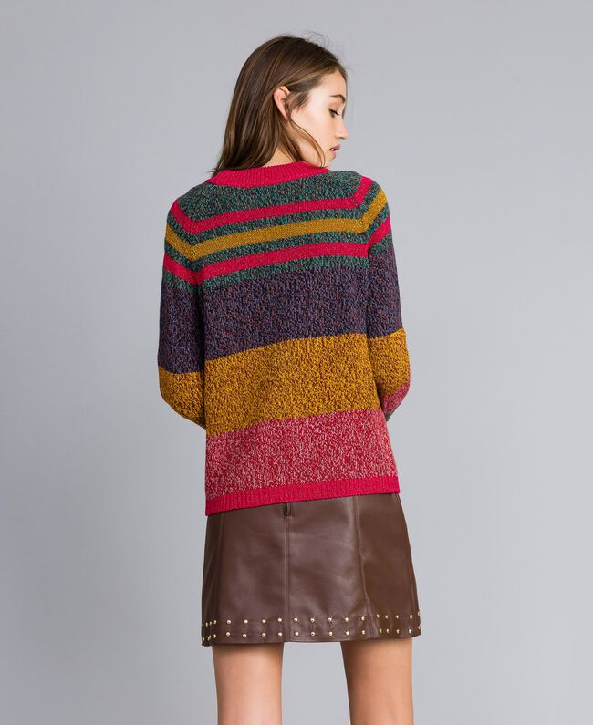 Mouliné colour block jumper Multicolour Mouliné Woman YA831B-03