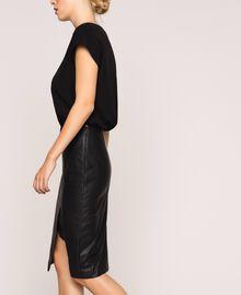 Faux leather and crêpe de Chine dress Black Woman 201TP2122-02