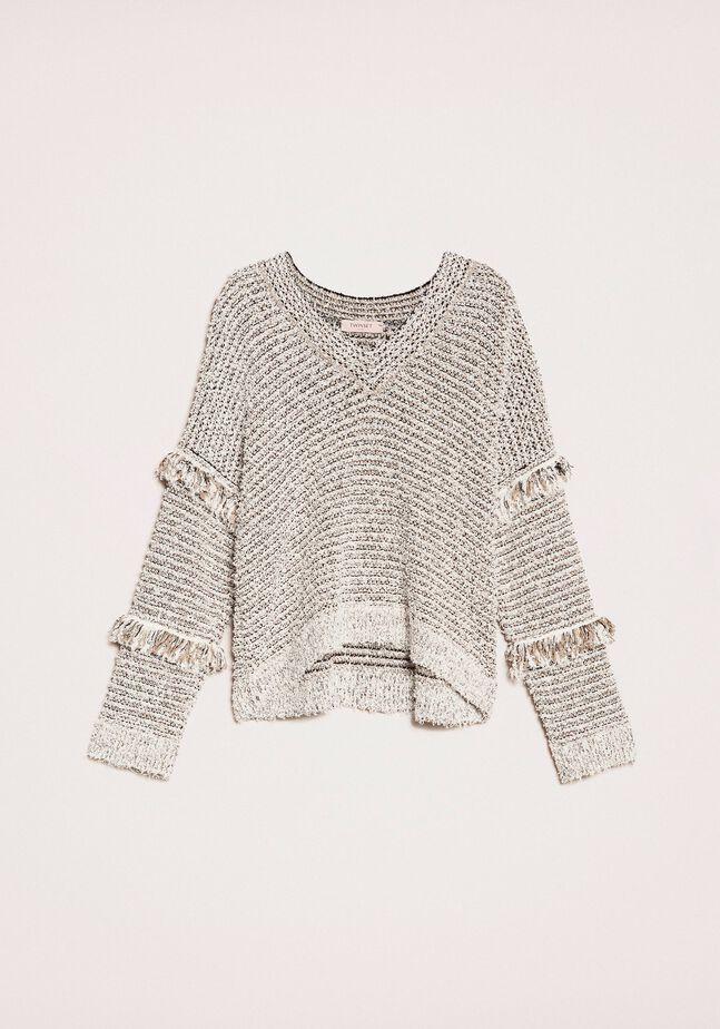 Pullover aus Fransengarn mit Lurex