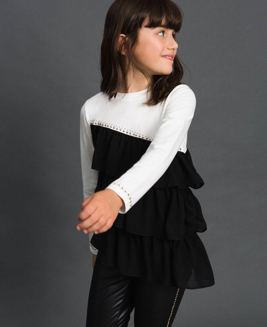 T-shirt con balze asimmetriche e borchie Bianco / Nero Bambina 192GJ2116-01