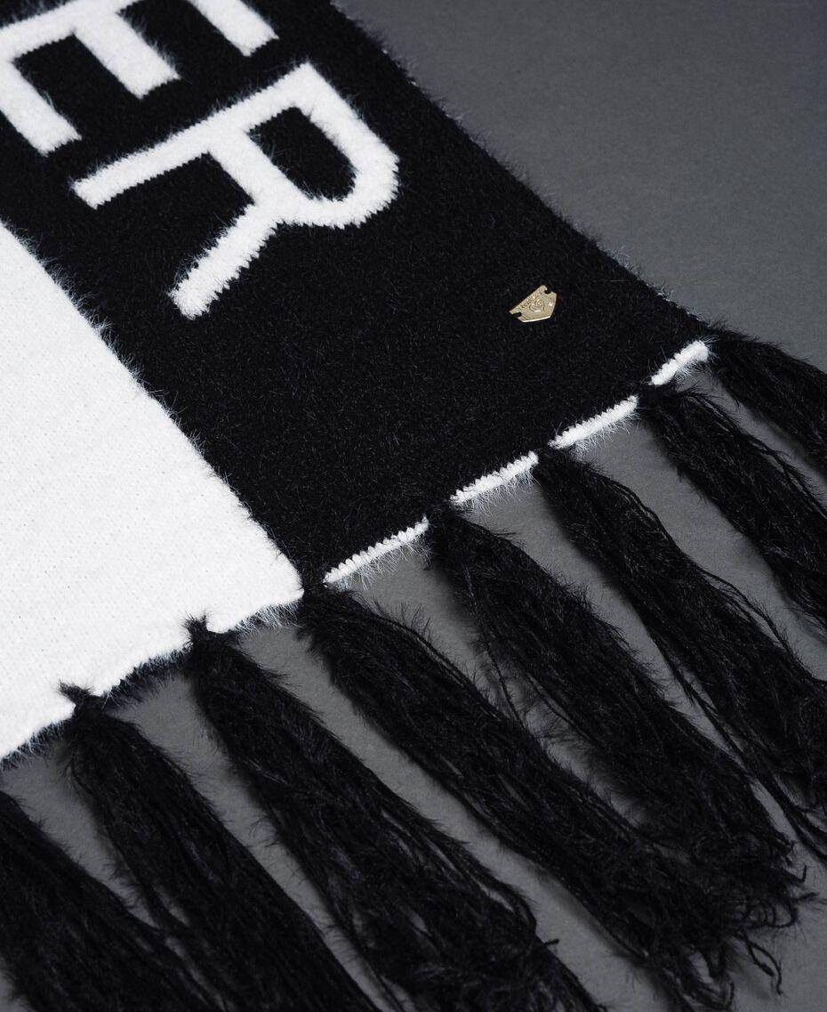 Zweifarbiger Schal in Pelzoptik Schwarz / Elfenbein Frau 192LI4ZMM-02