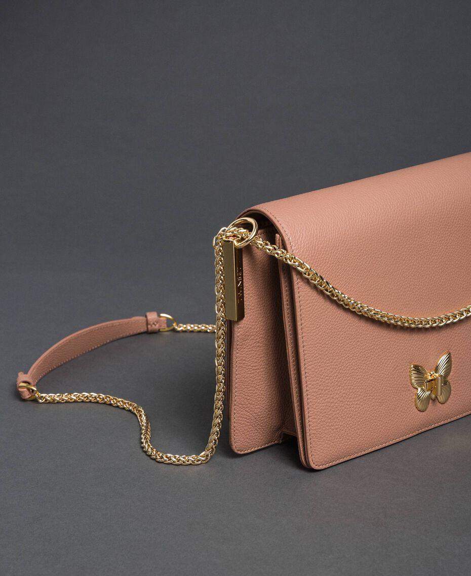 """Große Umhängetasche """"Bea"""" aus Leder Pink Mousse Frau 192TA7020-01"""