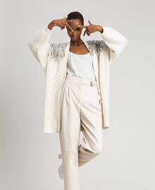 Maxi cardigan with sequins and fringes White Snow Woman 192TT3230-01