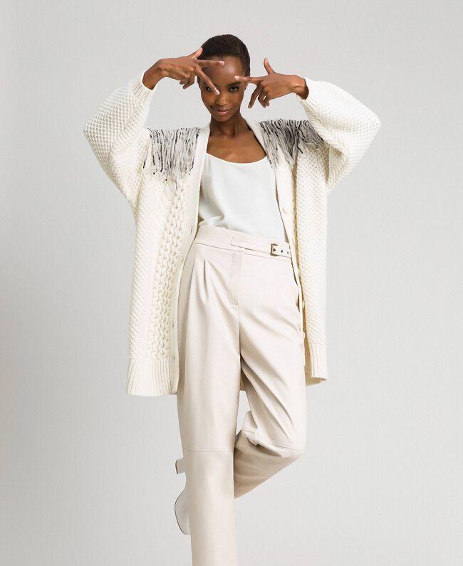 Maxi cardigan avec franges et sequins Blanc Neige Femme 192TT3230-01