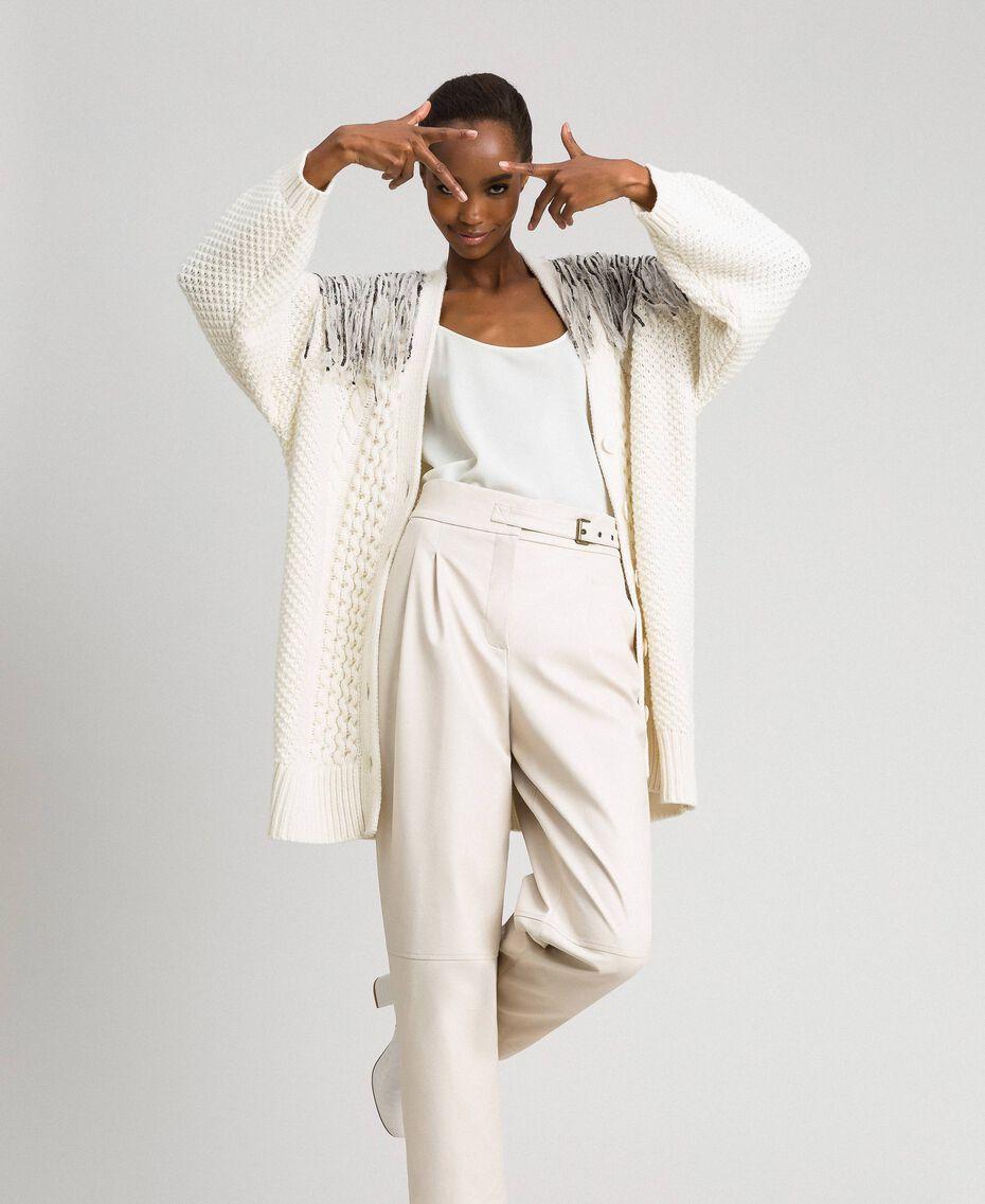 Maxi cardigan con frange e paillettes Bianco Neve Donna 192TT3230-01
