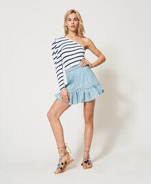 Denim miniskirt with flounce Light Denim Woman 211TT2375-0T