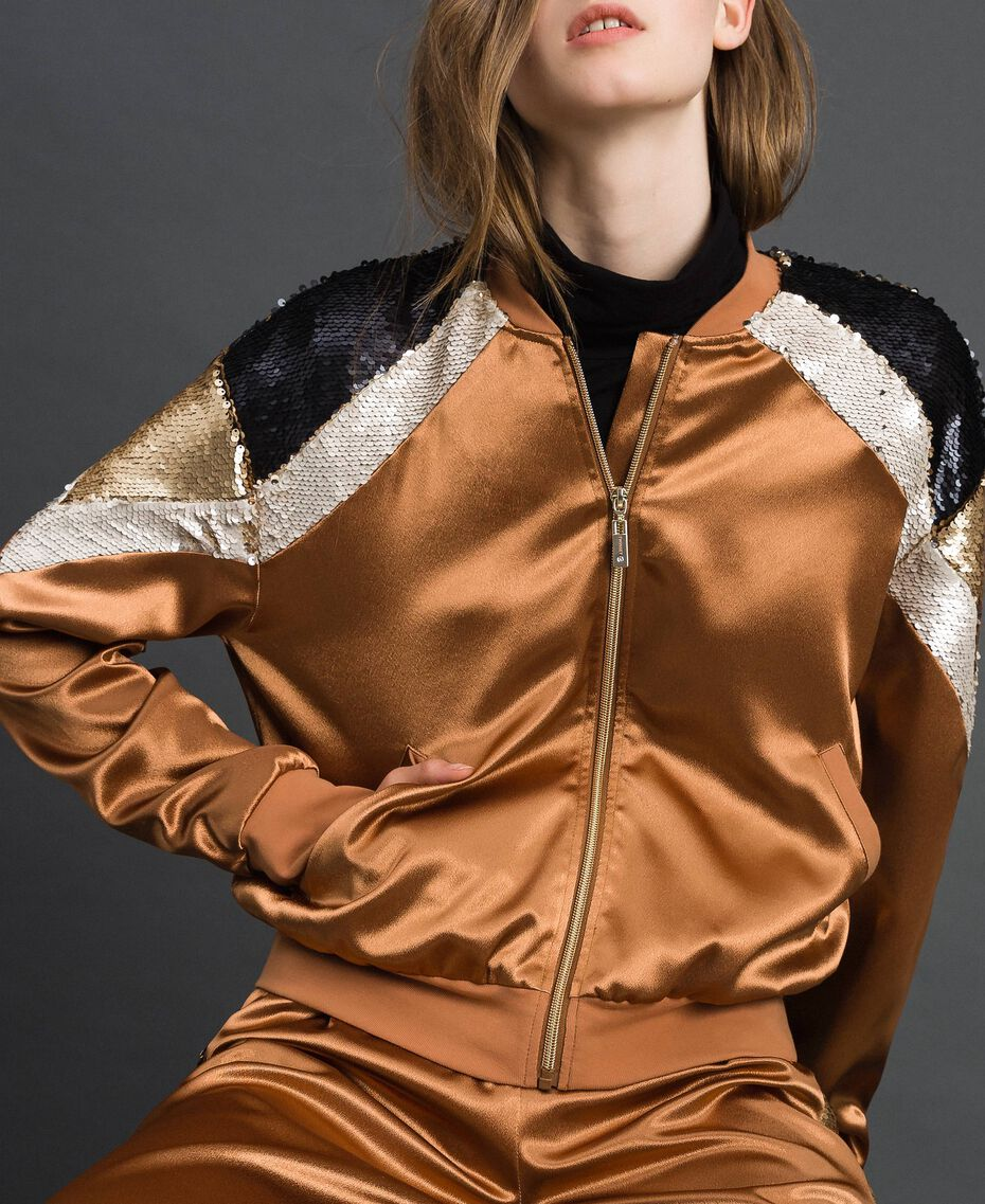 "Satin bomber jacket with sequins ""Camel Skin"" Beige Woman 192LI2RAA-02"