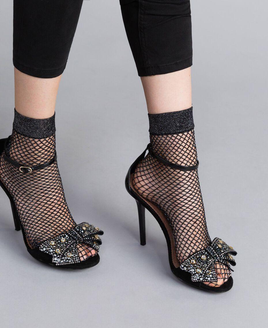 Sandalette aus Veloursleder mit Schleife Schwarz Frau CA8PG1-0S