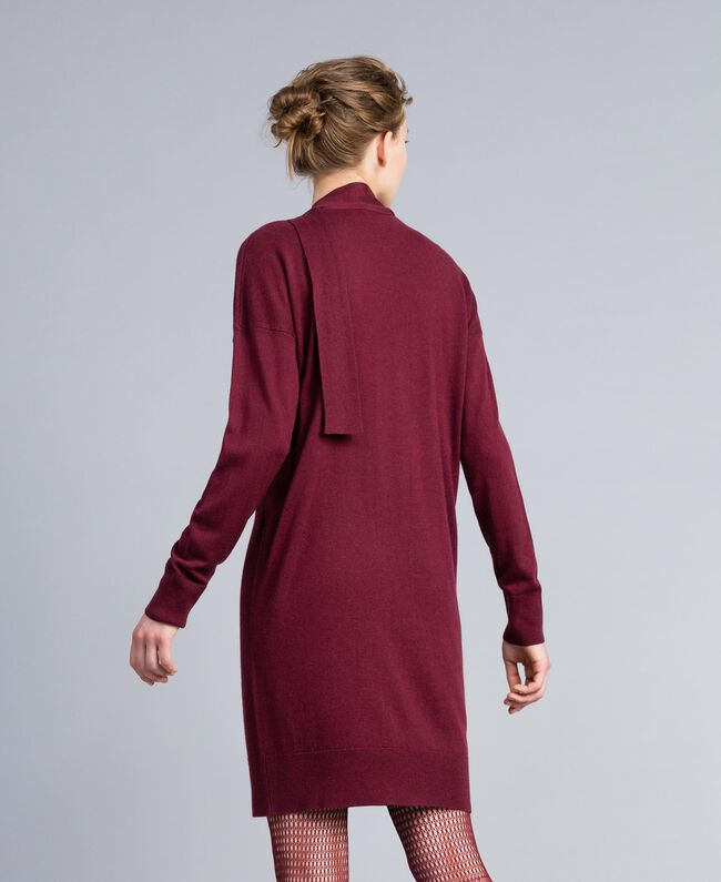 Kleid aus Seide und Kaschmir Bordeaux Frau PA83GE-03
