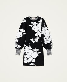 Robe jacquard florale Jacquard Fleurs Blanc «Neige»/ Noir Femme 212TP3540-0S