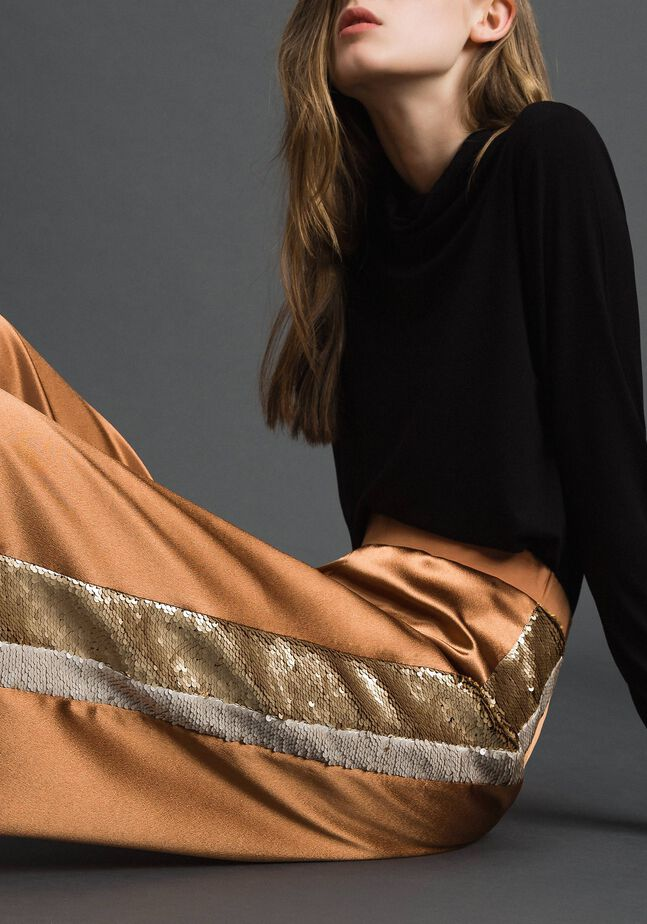 Satin palazzo trousers with sequins