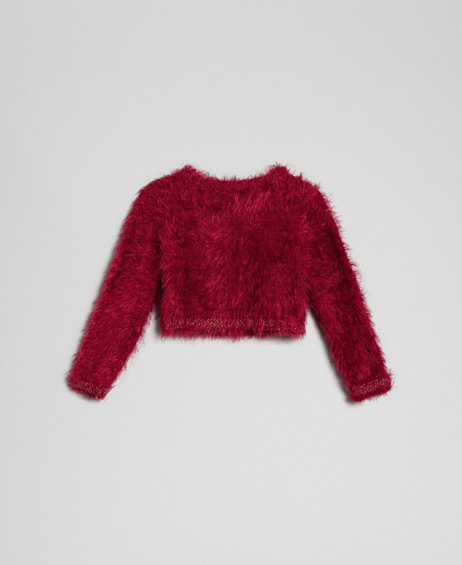 Fur effect yarn shrug cardigan Ruby Wine Red Child 192GB3061-0S