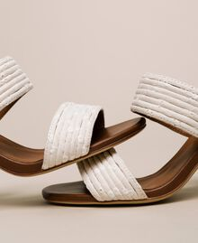 Mules with broderie anglaise bands Ivory Woman 201LMPZTT-04