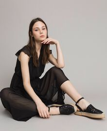 Suede espadrilles with laser embroidery Black Woman 191TCP062-0S