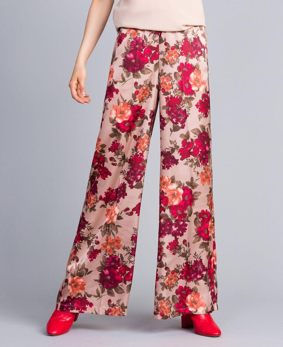 Pantalon palazzo avec imprimé floral Imprimé Floral Rose Nude Femme SA82E3-02