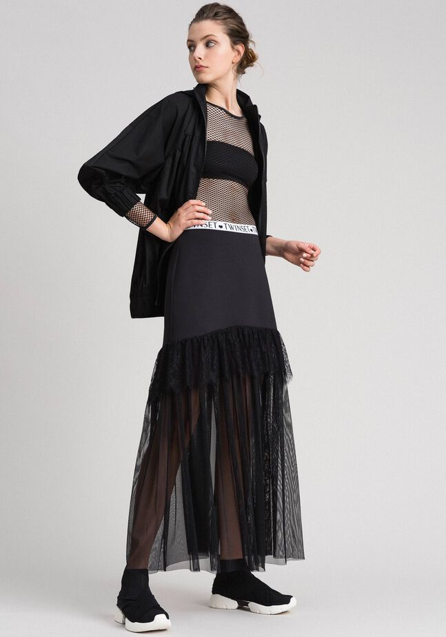 Long tulle and scuba skirt