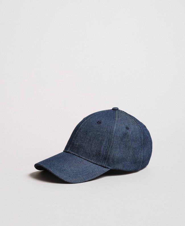 Denim hat with cockade Dark Denim Woman 191MA4320-03