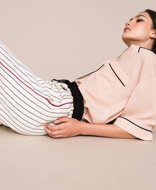 Pantalon en crêpe de Chine rayé Rayé Vanille / Noir Femme 201MP2101-05