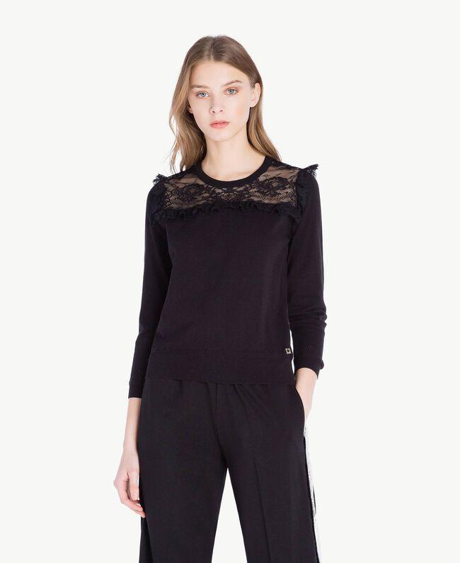 Pullover mit Spitze Schwarz Frau PS83DH-01