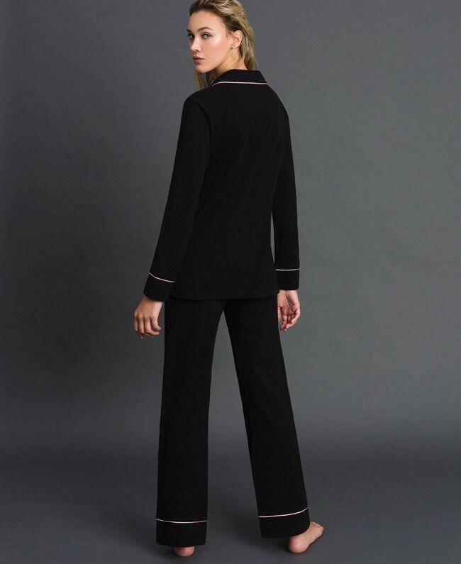Pyjama long avec bords contrastés Noir Femme 192LL2DMM-04