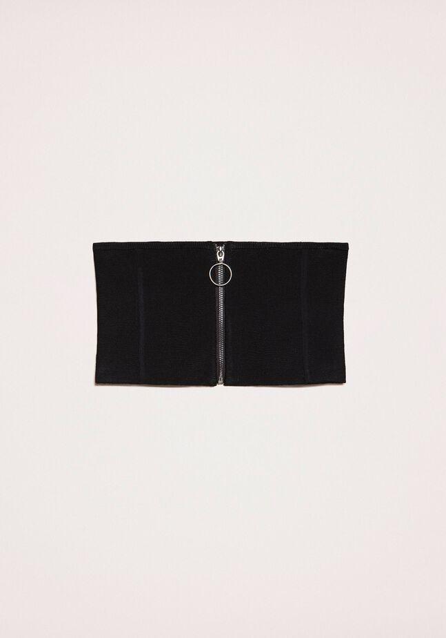 Bustino in maglia stretch con zip
