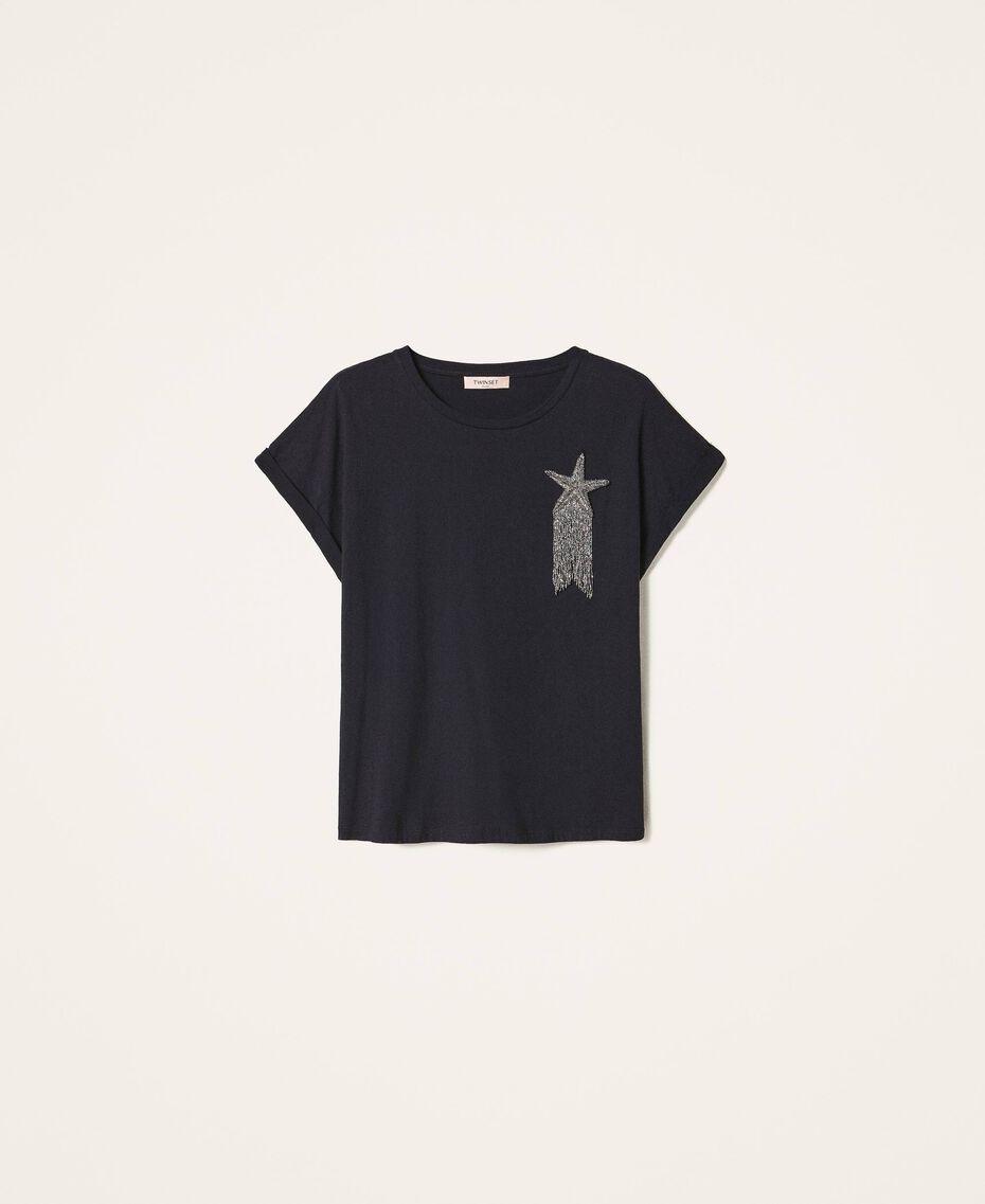 T-shirt avec étoile brodée Noir Femme 202TP246A-0S