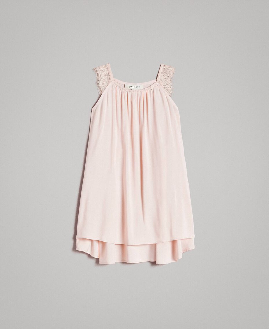Robe longue ornée de dentelle Rose En fleur Enfant 191GB2430-01
