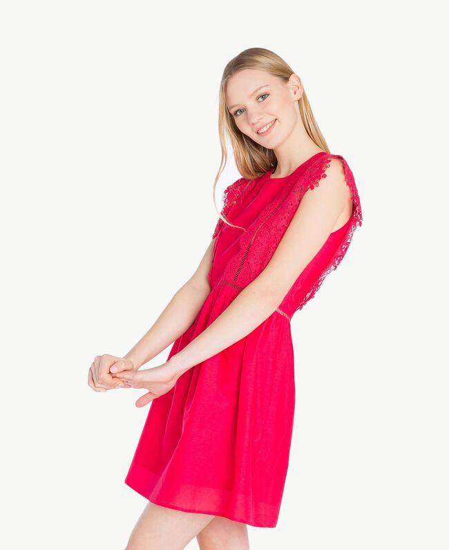 "Kleid mit Spitze ""Pink Twist""-Rot Frau BS8FBB-05"