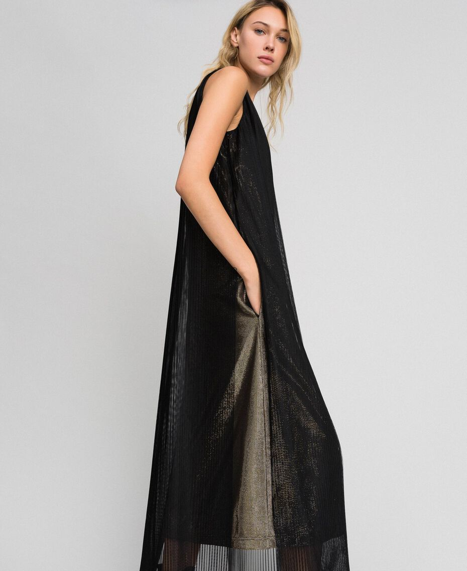Metal effect long dress with tulle Black Gold Woman 192MT2192-01