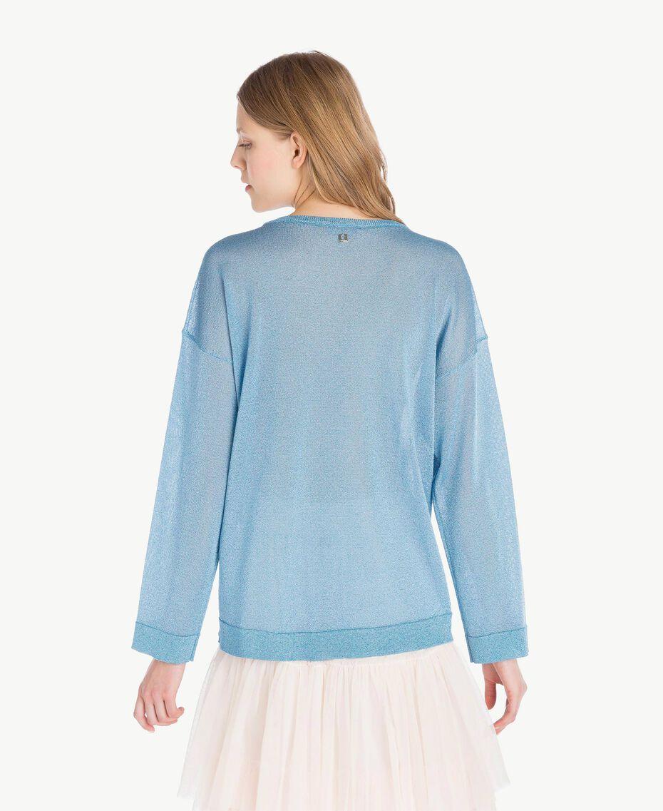 Lurex knit top Oriental Blue Lurex Woman PS83Y2-03