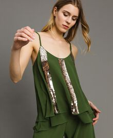 Топ с полосками из пайеток Зеленый Амазония женщина 191LM2CAA-04