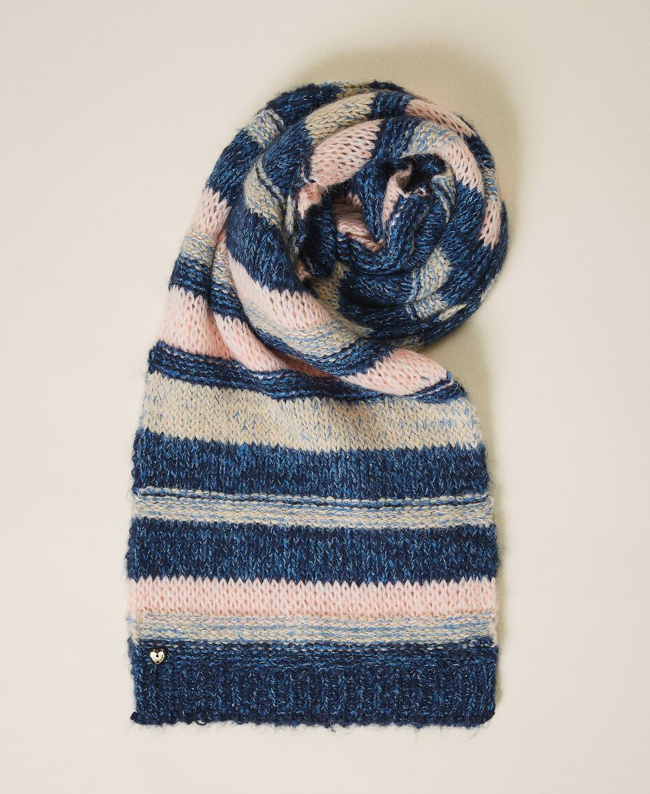 Multicolour stripe scarf Blue Striped Multicolour Woman 202MA4335-01