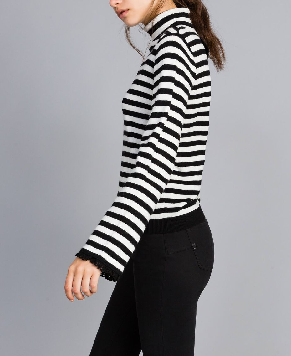 Striped cashmere blend mock neck jumper Black / Mother-of-pearl White Stripe Woman SA83FN-02
