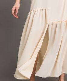 Crêpe de Chine slip dress with lace Black Woman 191ST2064-05