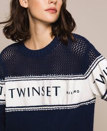 """Jumper with plush and logo inlay Two-tone Night Blue / """"Snow"""" White Woman 201TP3201-01"""