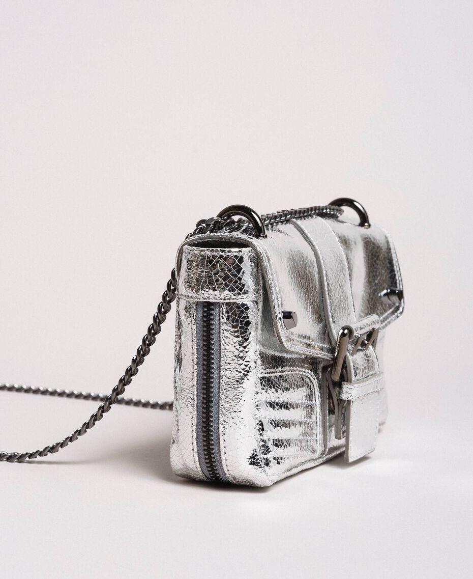 b18a6caefd7b Сумка Rebel через плечо из ламинированной кожи женщина, серебряный |  TWINSET Milano