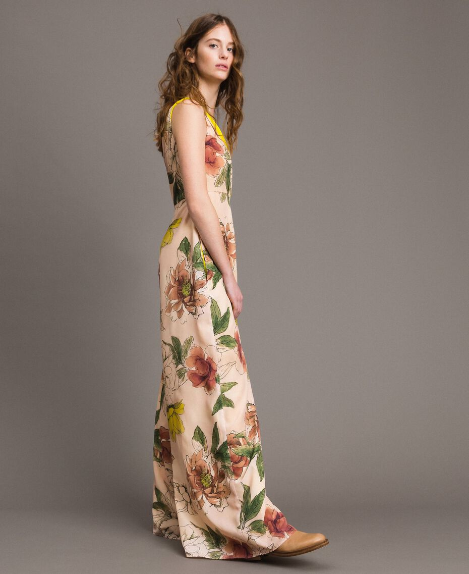 "Printed crêpe de Chine jumpsuit All Over ""Shell"" Beige Flower Print Woman 191MT2214-02"