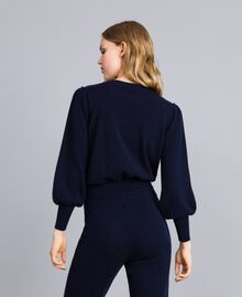 Pull boxy en laine et cachemire Bleu Nuit Femme TA83AD-03