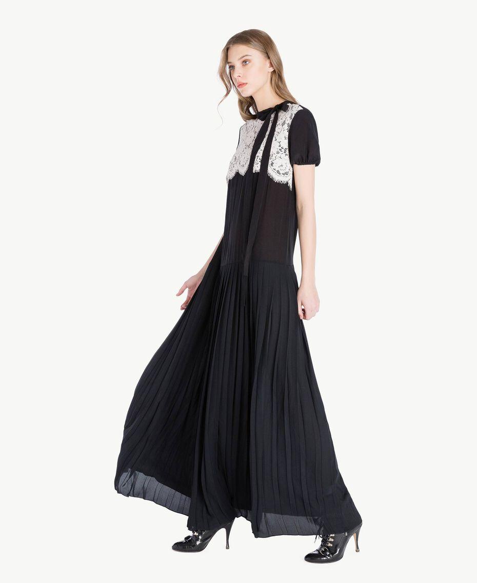 Langes Kleid aus Seide Zweifarbig Schwarz / Ecru Frau PS82Y3-02