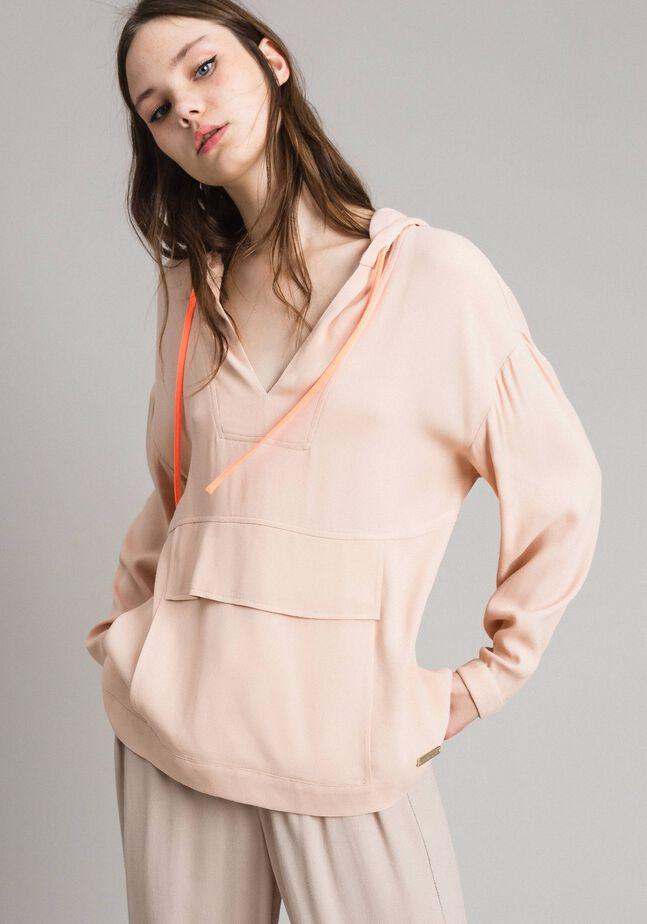 Sweat shirt en crêpe avec poche oversize